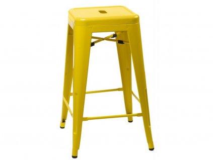 Žlutá kovová barová židle Tolix 75 cm