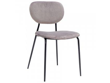 Šedá sametová jídelní židle Doris