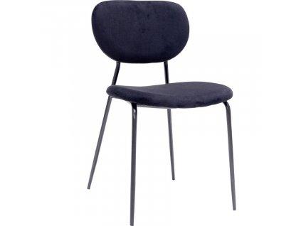 Černá sametová jídelní židle Doris