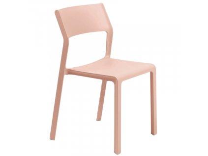 Lososově růžová plastová zahradní židle Trill