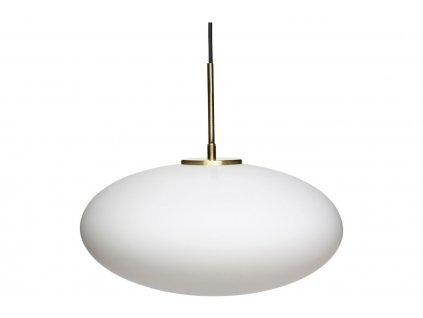 Bílé skleněné oválné závěsné světlo Hübsch Floter 40 cm