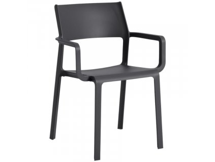 Antracitově šedá plastová zahradní židle Trills područkami