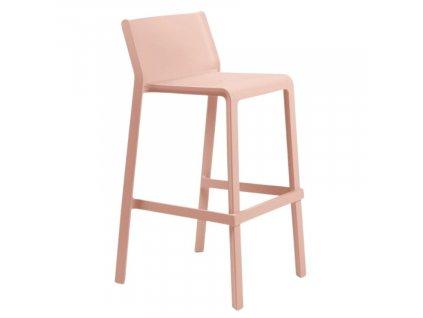 Lososově růžová plastová barová židle Trill 76 cm