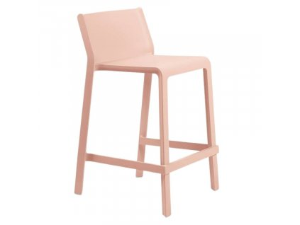 Lososově růžová plastová barová židle Trill 65 cm
