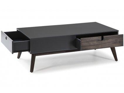 Antracitově šedý dřevěný konferenční stolek Marckeric Kiara 110 x 60 cm