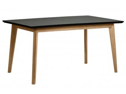 Černý dřevěný rozkládací jídelní stůl Marckeric Ceilan 150/190 x 90 cm s borovicovou podnoží