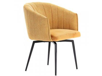 Žlutá látková jídelní židle Marckeric Carina