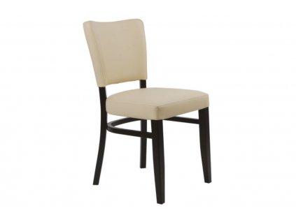 Béžová koženková jídelní židle Bruno