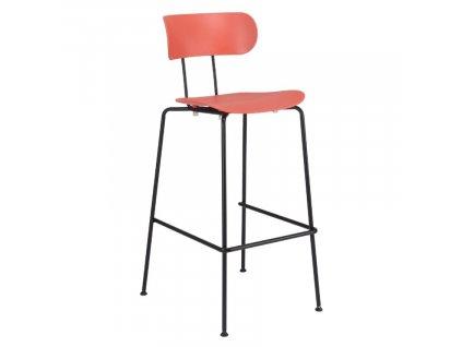 Korálově červená plastová barová židle Marckeric Fox 79 cm