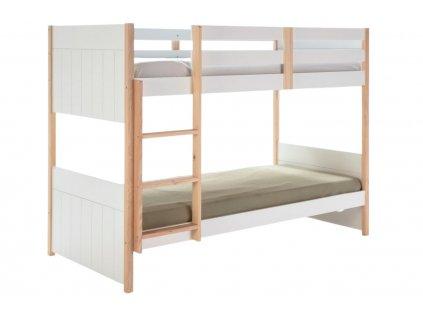 Bílá dřevěná dětská patrová postel Marckeric Kiara 90 x 190 cm