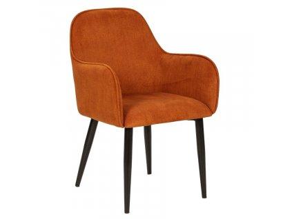 Cihlově červená manšestrová jídelní židle Marckeric Aude