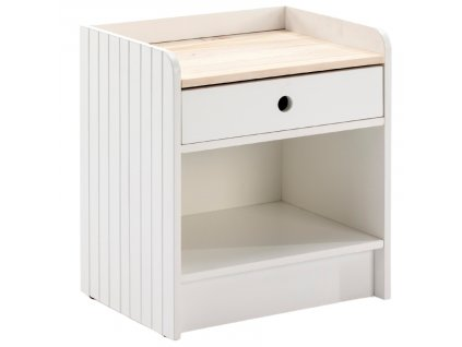 Bílý dřevěný noční stolek Marckeric Monte 46 x 35 cm