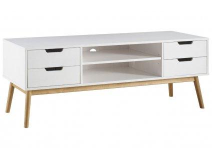 Bílý borovicový TV stolek Marckeric Baku 158 x 40 cm