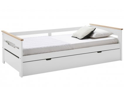 Bílá borovicová rozkládací postel Marckeric Ellisa III. 90 x 190 cm