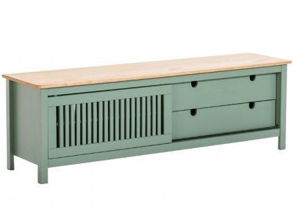 Zelený borovicový TV stolek Marckeric Bruna 158 x 40 cm