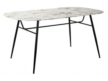 Bílý skleněný jídelní stůl Marckeric Alina 160 x 90 cm