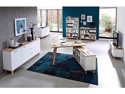 Bílá dřevěná komoda Germania Oslo 3216 144 x 40 cm