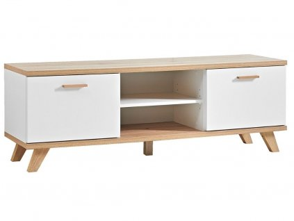 Bílý dubový TV stolek Germania GW-Oslo 144x40 cm