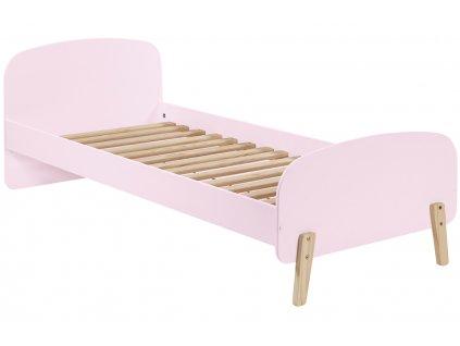 Růžová dřevěná dětská postel Vipack Kiddy 90x200 cm