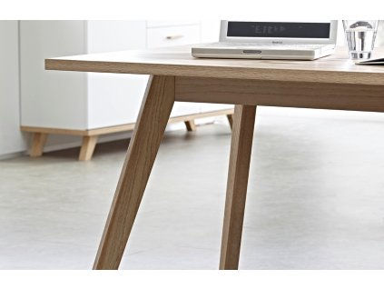 Bílý kancelářský stůl Germania GW Oslo 144x145 cm