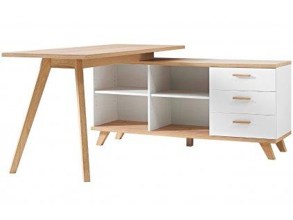 Bílý dřevěný pracovní stůl Germania Oslo 4058 144 x 145 cm