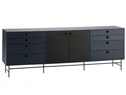 Tmavě modrá dřevěná komoda Teulat Punto 212 x 47 cm
