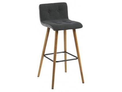 Šedá látková barová židle Fredy čalouněná