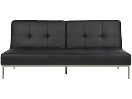 Černá koženková rozkládací pohovka Peggy 198 cm