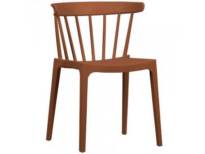 Cihlově oranžová plastová jídelní židle Marbel