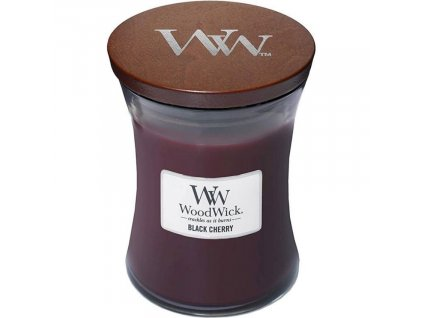 Střední vonná svíčka Woodwick, Black Cherry