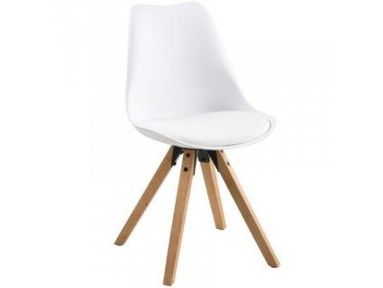 Bílá plastová jídelní židle Damian s přírodní podnoží