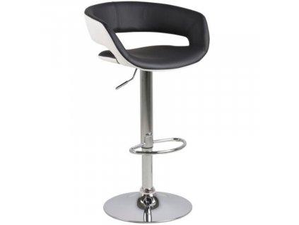 Černá koženková otočná barová židle Garry 59-80 cm