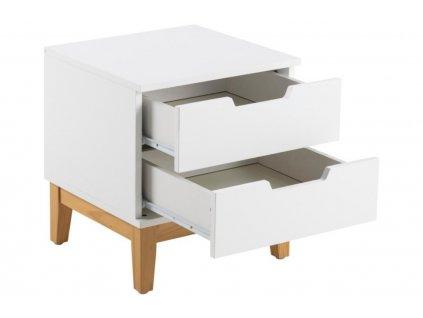 Bílý noční stolek Cuba, MDF ošetřený matným bílým lakem, podnož z borového dřeva