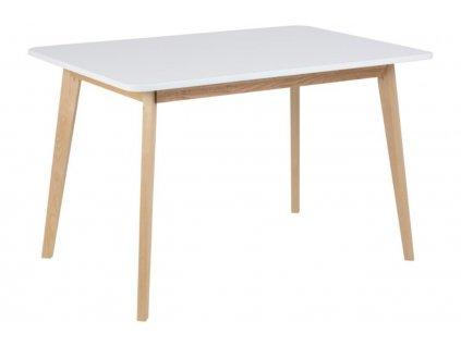 Bílý dřevěný jídelní stůl Corby 120x80 cm