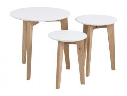 Bílý set konferenčních stolků Alvin s dubovou podnoží, dřevěnédesky lakované matným bílým lakem, podnožz masivního dubového dřeva