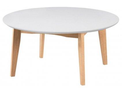 Bílý dubový konferenční stolek Alvin 90 cm, bíle lakované MDF,masivní dubové dřevo