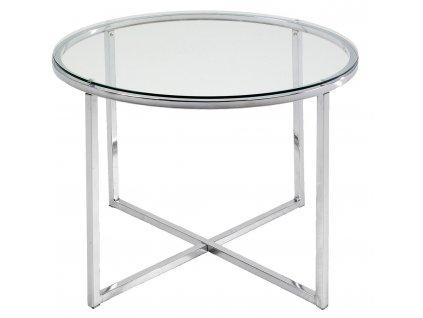 Kulatý skleněný konferenční stolek Claire 55 cm, podnož z chromovaného kovu