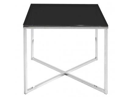 Černý skleněný konferenční stolek Claire 50x50 cm, podnož z chromovaného kovu