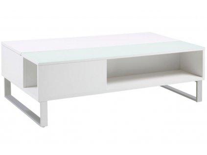 Bílý konferenční stolek Stor II 110 cm, lakované MDF, vysoký lesk, sklo, chromovaný kov, LTD