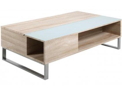 Dubový konferenční stolek Stor II 110 cm, dýhová MDF deska, přírodní barva, sklo, chromovaný kov