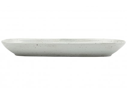 Slonovinově bílý porcelánový servírovací talíř Made 11,5 x 35 cm