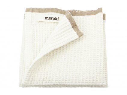 Bílá bavlněná utěrka Meraki Bare s hnědým lemem, 31 x 31 cm
