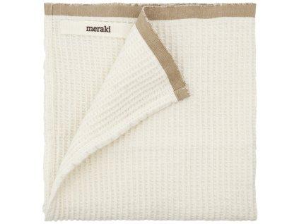 Bílá bavlněná utěrka Meraki Bare s hnědým lemem, 50 x 50 cm