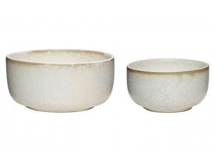 Sada dvou bílých keramických misek Hübsch Snomine