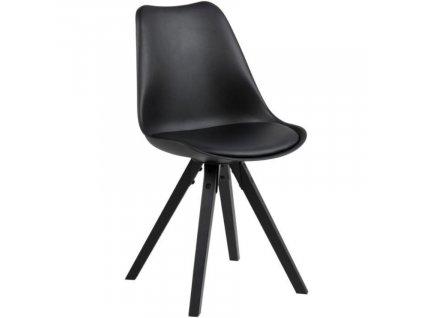 Černá plastová jídelní židle Damian s černou podnoží