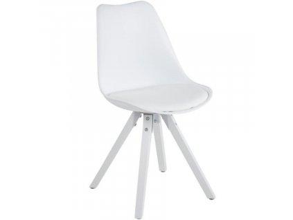 Bílá plastová jídelní židle Damian s bílou podnoží