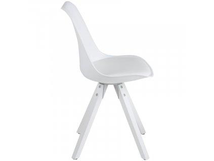 Bílá plastová jídelní židle Damian s dřevěnou podnoží v bílé barvě