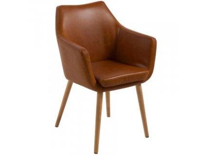 Hnědá koženková jídelní židle Marte s područkami