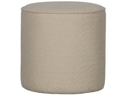 Krémově bílý látkový taburet Norma 46 cm