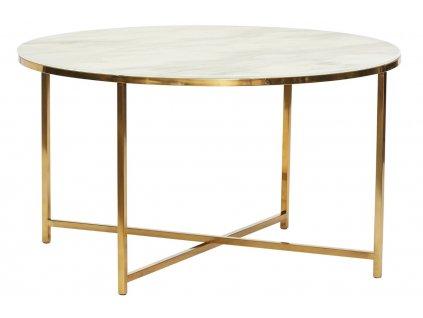 Bílo zlatý kovový konferenční stolek Hübsch Harlan 80 cm
